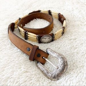Tony Lama Native Son Bone Bead Belt Size 30